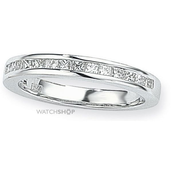 White Gold 0.50ct tw VS Princess-cut Half Eternity Diamond Ring Size O