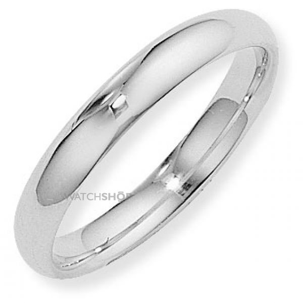 White Gold 4mm Court-Shaped Band Size P