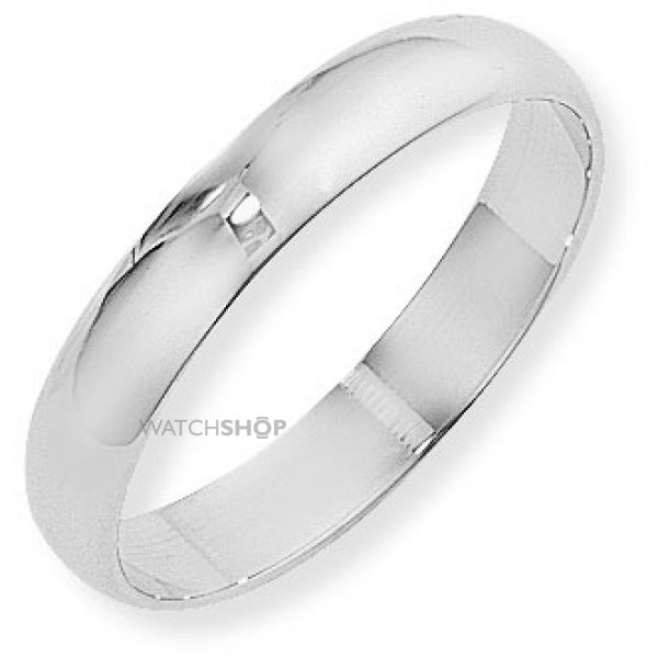 White Gold 4mm Essential D-Shaped Band Size L