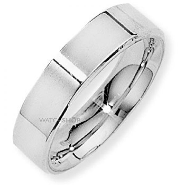 White Gold 5mm Flat-Court Band Size P