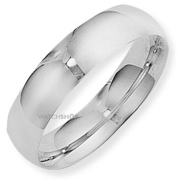 White Gold 6mm Court-Shaped Band Size L