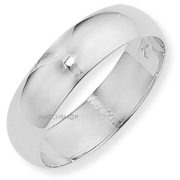 White Gold 6mm D-Shaped Band Size M