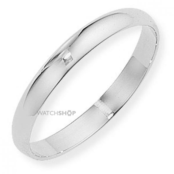 White Gold 3mm D-Shaped Band Size M