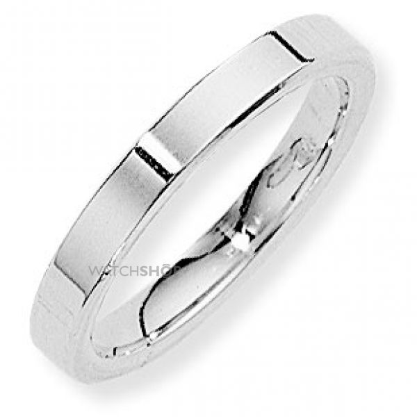 White Gold 3mm Flat-Court Band Size P