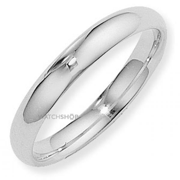 White Gold 4mm Court-Shaped Band Size R