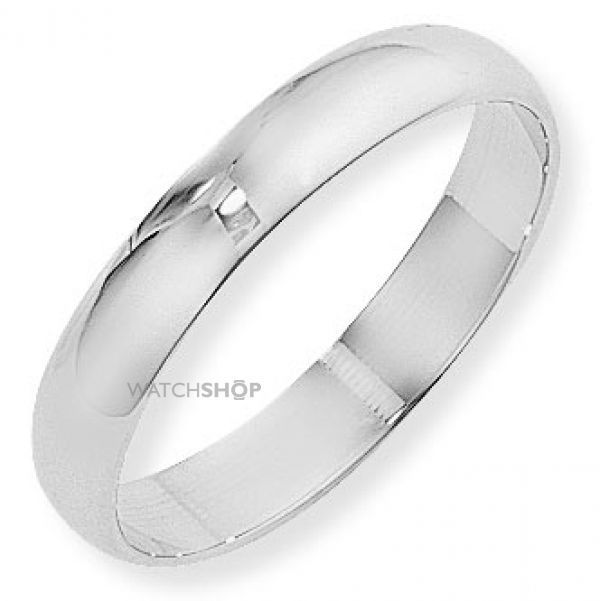 White Gold 4mm Essential D-Shaped Band Size M