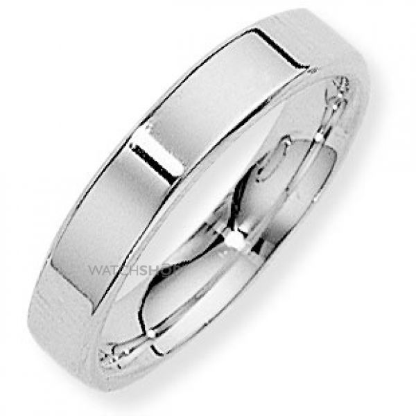 White Gold 4mm Flat-Court Band Size T