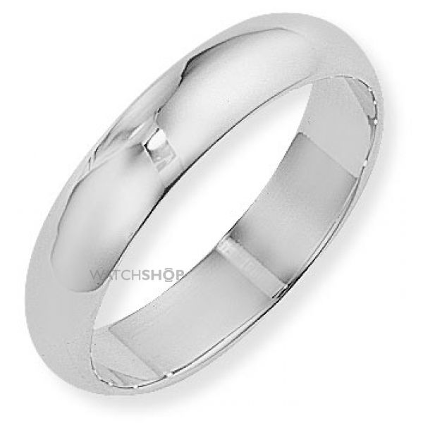 White Gold 5mm D-Shaped Band Size W