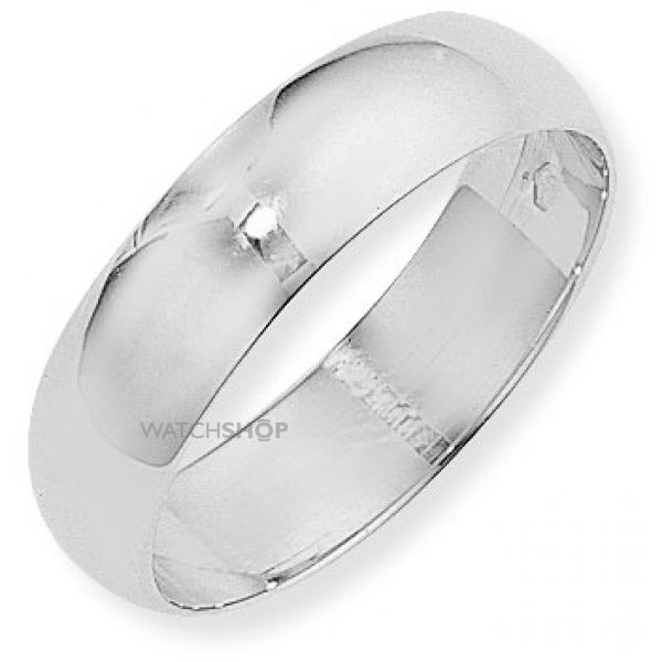 White Gold 6mm D-Shaped Band Size X
