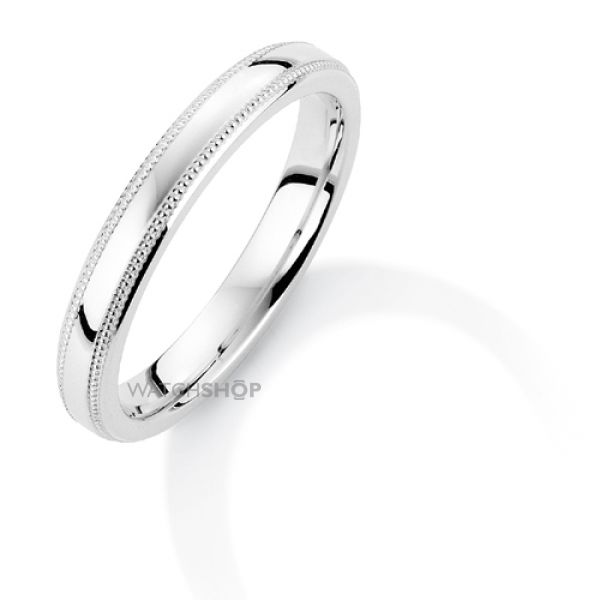 White Gold 3mm Court-Shaped Mill Grain Edge Band Size K
