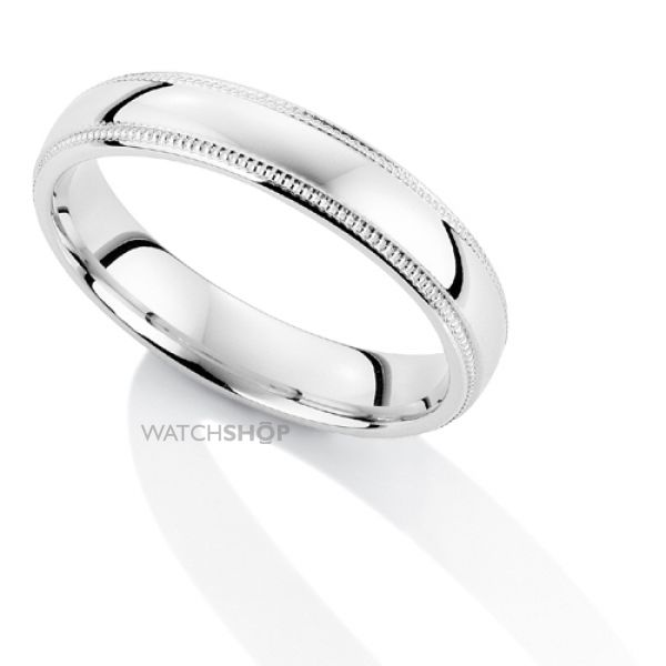 White Gold 4mm Court-Shaped Mill Grain Edge Band Size Q