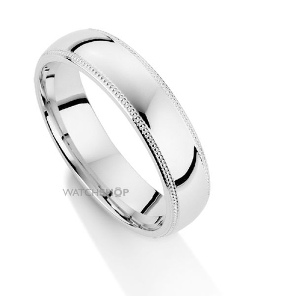 White Gold 5mm Court-Shaped Mill Grain Edge Band Size P