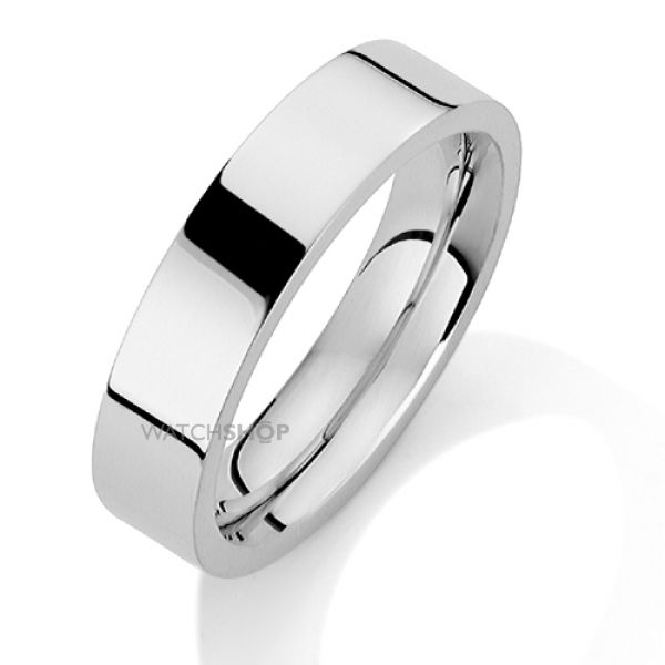 White Gold 5mm Heavyweight Flat Court-Shaped Band Size P