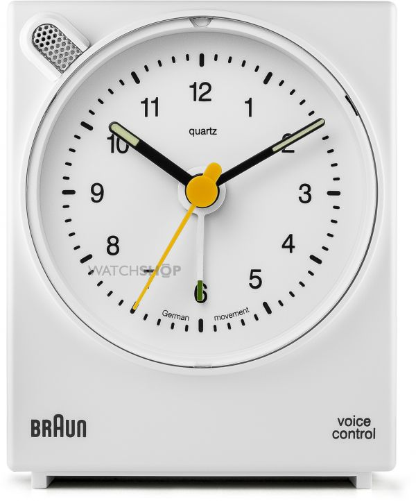 Braun Clocks Voice Activated Bedside Alarm Clock BNC004WHWH