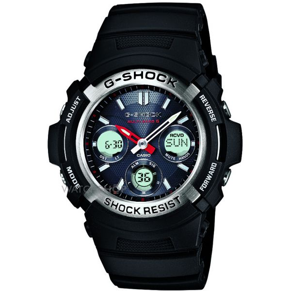 Mens Casio G-Shock Waveceptor Alarm Chronograph Radio Controlled Solar Powered Watch AWG-M100-1AER