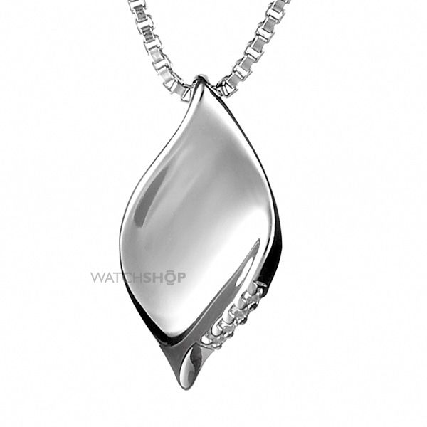 Ladies Hot Diamonds Sterling Silver Pave Leaf Pendant DP167