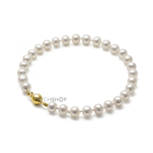 Ladies Jersey Pearl PVD Gold plated Small Freshwater Pearl Bracelet S45G7-5