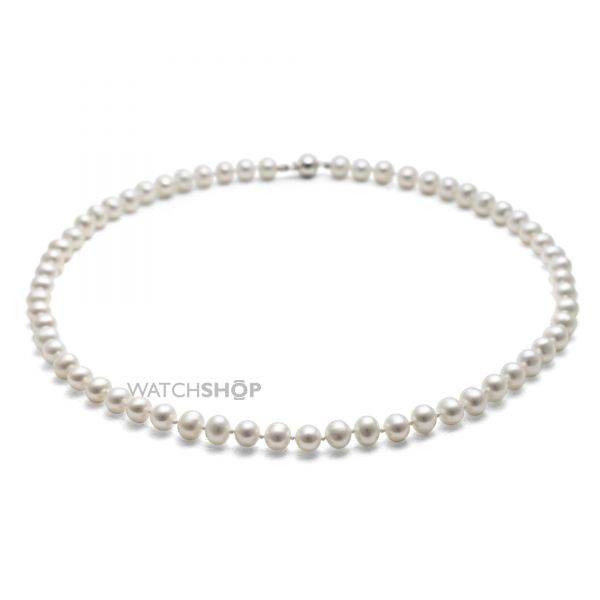 Ladies Jersey Pearl Sterling Silver White Freshwater Pearl 18 Inch Necklace S45S18