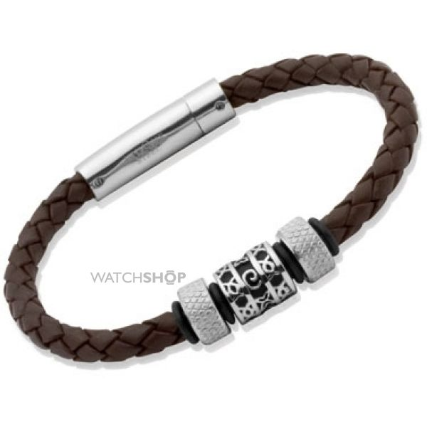 Unique Stainless Steel Dark Brown Leather Bracelet B91DB/21CM