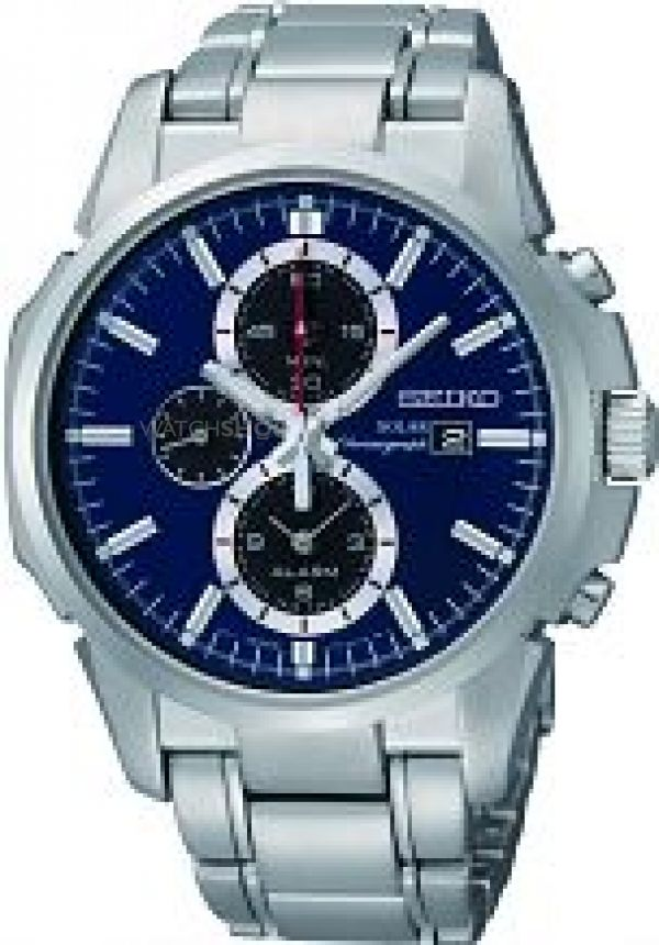 Mens Seiko Alarm Chronograph Solar Powered Watch SSC085P1