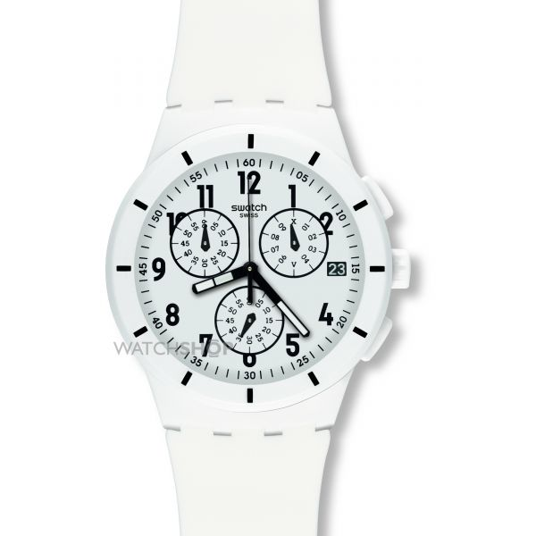 Mens Swatch Twice Again White Chronograph Watch SUSW402