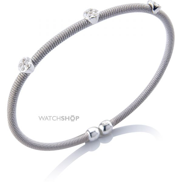 Sterling Silver Ribbed Cubic Zirconia-set Bangle