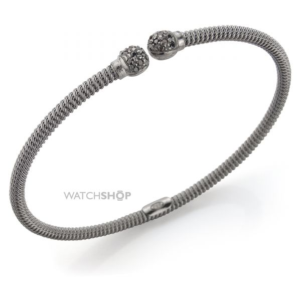Sterling Silver Charcoal Galvanised Ribbed Cubic Zirconia-set Bangle