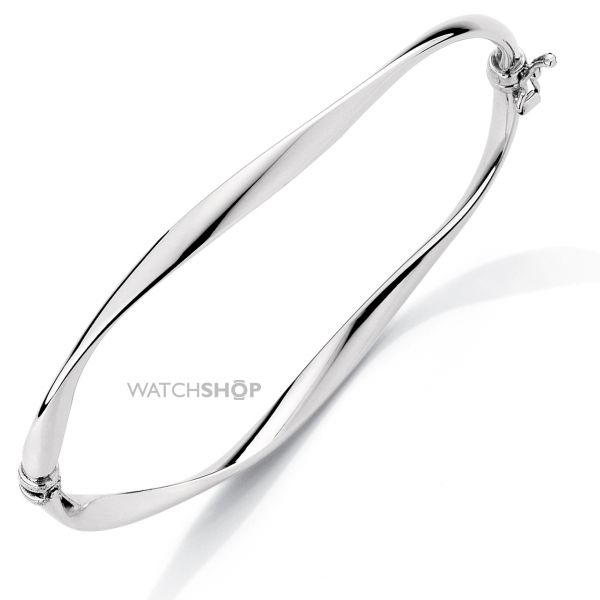 White Gold Twisted Bangle