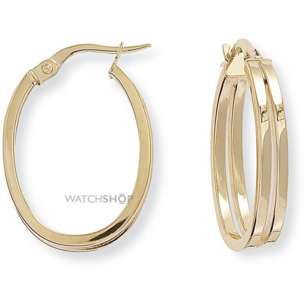 Square Tube Oval Hoop Earrings