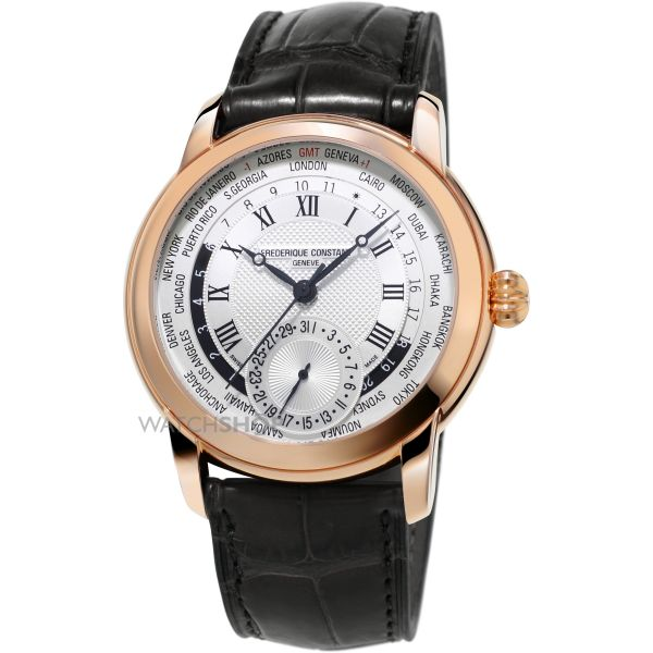 Mens Frederique Constant Classic Manufacture Worldtimer Automatic Watch FC-718MC4H4
