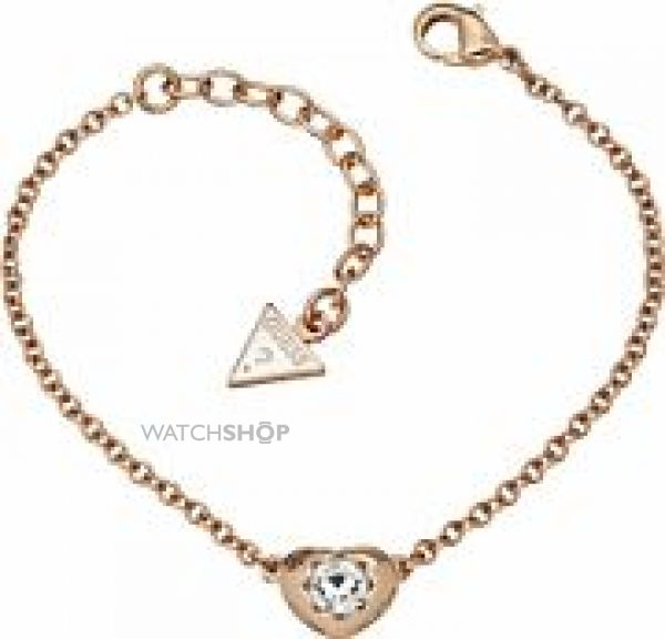Ladies Guess Rose Gold Plated Crystals Of Love Mini Bracelet UBB51415