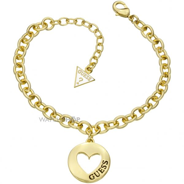 Ladies Guess PVD Gold plated G Girl Coin Heart Bracelet UBB51435