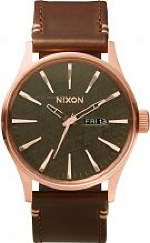 Mens Nixon The Sentry Leather Watch A105-2001