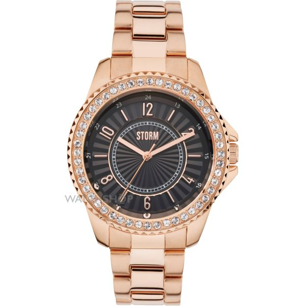Ladies STORM Zirona Crystal Watch ZIRONA-CRYSTAL-RG-BLACK