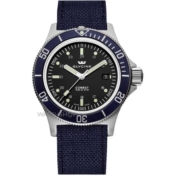 Mens Glycine Combat Sub Aquarius Automatic Watch 3908.19B-TB8