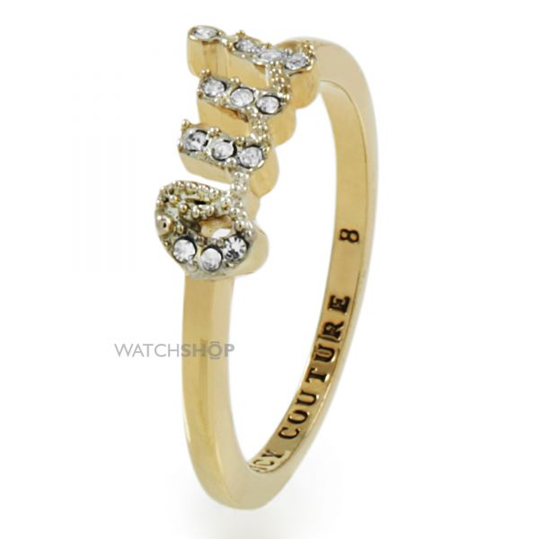 Ladies Juicy Couture PVD Gold plated Size P Pave Oui Ring WJW443-8-710