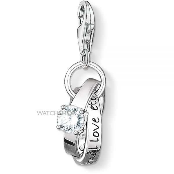 Ladies Thomas Sabo Sterling Silver Charm Club Wedding Rings Charm 0673-051-14