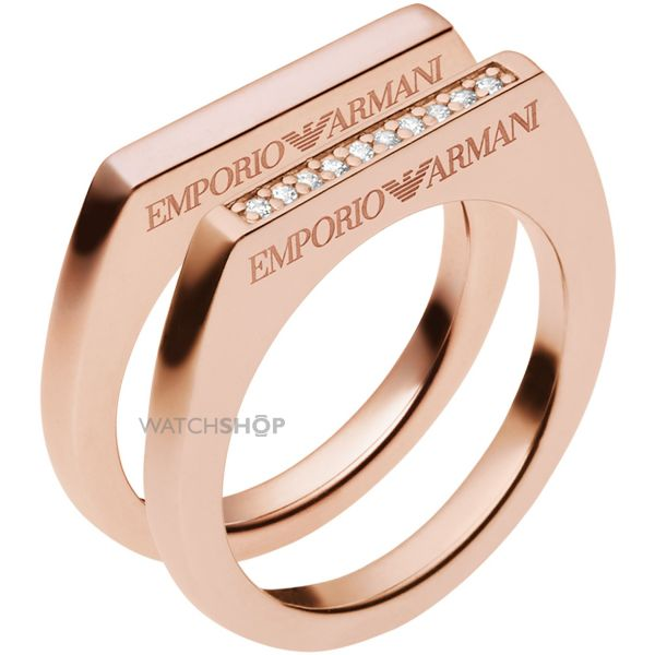 Ladies Emporio Armani Sterling Silver Size M.5 Ring EG3215221505