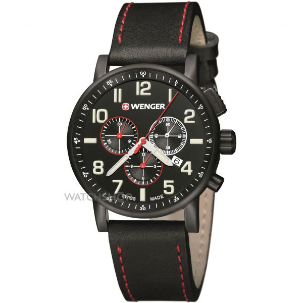 Mens Wenger Attitude Chrono PVD Chronograph Watch 010343104
