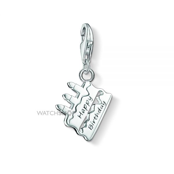 Ladies Thomas Sabo Sterling Silver Charm Club Cake Happy Birthday Charm 1287-001-12