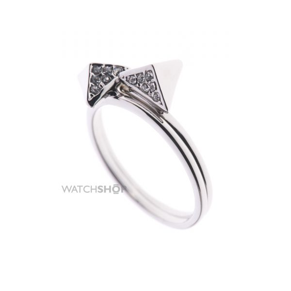 Ladies Karen Millen PVD Silver Plated Double Arrow Ring Small KMJ864-01-02S