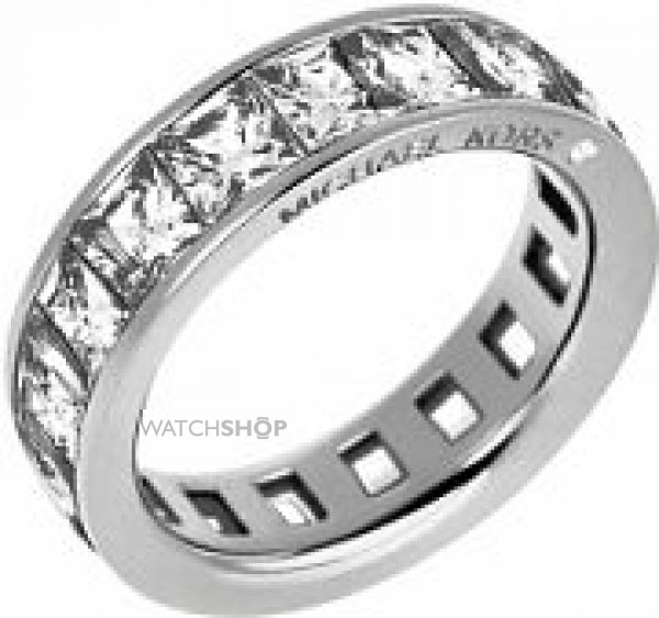 Ladies Michael Kors PVD Silver Plated Size P Park Avenue Barrel Ring MKJ4751040508
