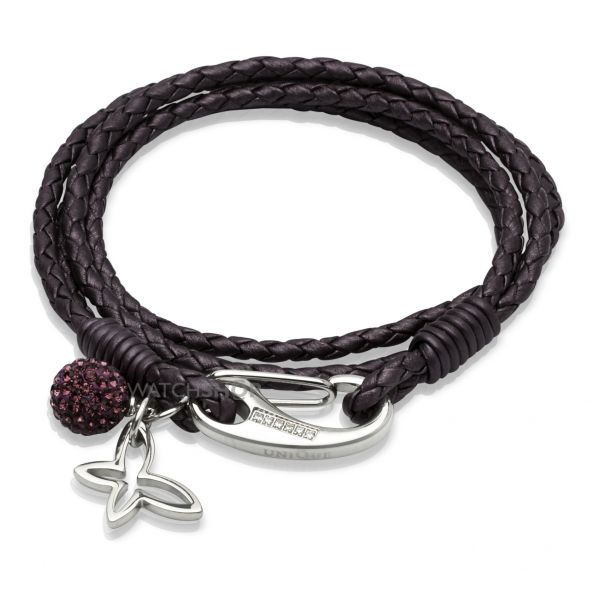 Ladies Unique Stainless Steel Leather Bracelet B213BE/19CM