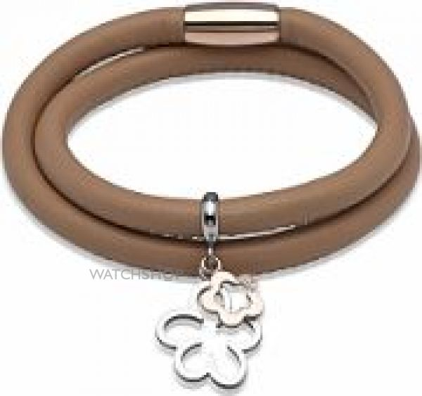 Ladies Unique Two-Tone Steel and Rose Plate Leather Bracelet B235SA/19CM