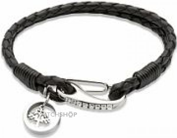Ladies Unique & Co Stainless Steel Leather Bracelet B251BL/19CM