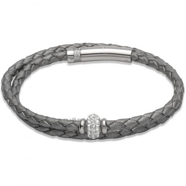 Ladies Unique Stainless Steel Leather Bracelet B268SG/19CM
