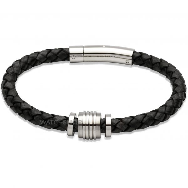Mens Unique & Co Stainless Steel Leather Bracelet B243ABL/21CM