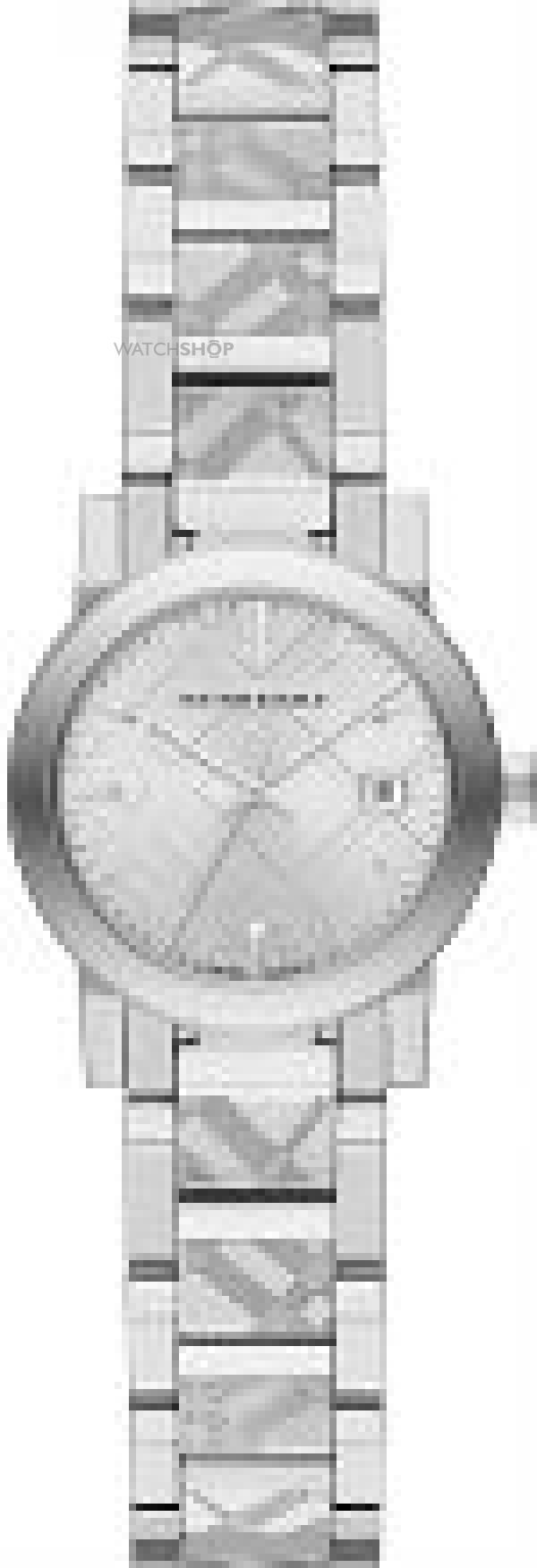 Ladies Burberry The City Engraved Check Watch BU9233