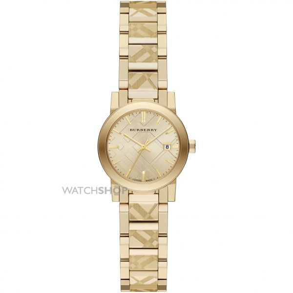 Ladies Burberry The City Engraved Check Watch BU9234