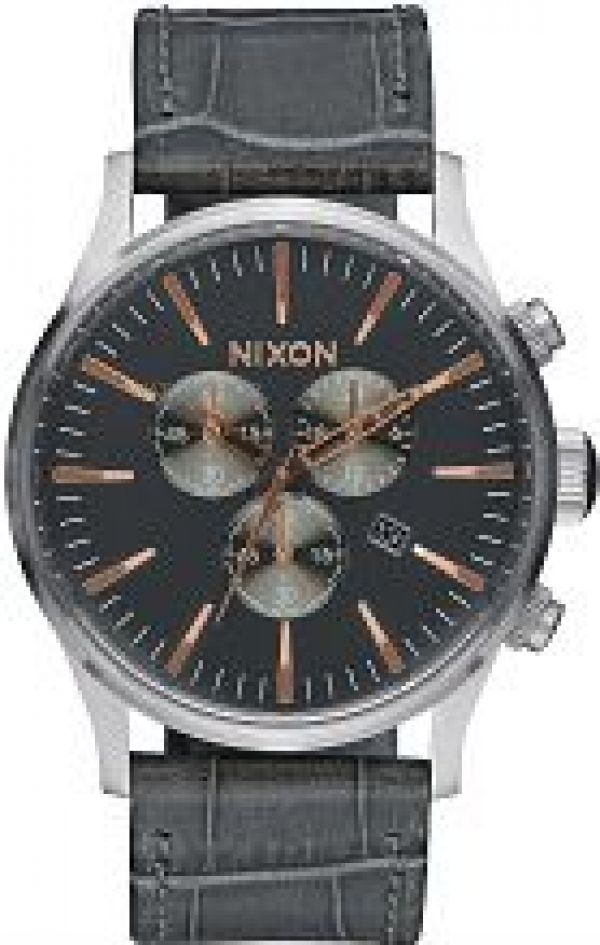 Mens Nixon The Sentry Chrono Leather Chronograph Watch A405-2145